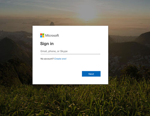 Outlook login screen. First step.